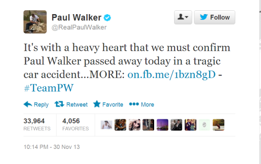 RealPaulWalker  It s with a heavy heart that ...